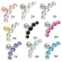 Punk Women Stainless Inlay Crystal Ear Studs Cartilage Helix Screw ball Ear Bone Nail Piercing Tragus Earrings Jewelry