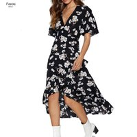 Wholesale robes resale online - Robe Print Beach Dress Summer Boho Style Ruffles Dress Casual Short Sleeve Sexy V Neck Split Party Dresses Floral Femme