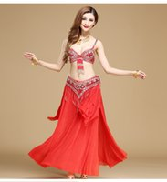 Wholesale indian belly chains resale online - 7 colors belly dancing costume suit exquisite beaded tassel bra belly Girdle chain Indian dancing stage wear Sexy danciing girls long skirt