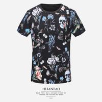 Wholesale shirt width for sale – custom 2019 Summer New Modal Cotton Short sleeved T shirt Tide Male Skull Full width Printing Slim Menswear Designer Shorts Size M XL