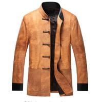 натуральная замшевая кожа оптовых-Leather suede sheepskin coat new men tang suit chinese style leather jacket genuine single coat 2019 New