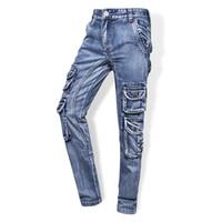 pantalones vaqueros de marca al aire libre al por mayor-Aboorun Brand Brand Cargo Jeans Multi bolsillos Tactical Denim Pants High Quality Male Outdoor Casual Jeans X1647