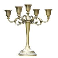ingrosso supporto nero portacandele in metallo nero-Oro / Bronzo / Nero 5-Arms metallo pilastro portacandele candeliere centrotavola matrimonio decorazione basamento Mariage home decor candelabro