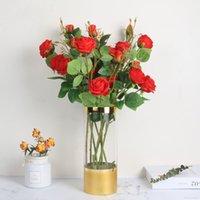 gefälschte blume stieg köpfe groihandel-3 Heads Startseite Hochzeitshotel Bürodekoration Gefälschte Seide und Kunststoff-Rosen-Blumen-Rot, Gelb, Orange Pink Bunte künstliche Blume