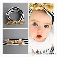 diadema blanca oro negro al por mayor-2017 Nuevas diademas de rayas en blanco y negro para bebés con orejas de conejo doradas Bandas para el cabello Accesorios para fotografía infantil Tocado para niños 30pcs / lot