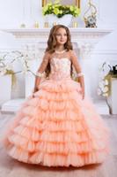 vestidos de flor de laranja venda por atacado-Luxo Laranja Lace Appliqued Em Camadas Vestido Da Menina de Flor Do Vintage Tulle Menina de Aniversário Prty Pageant Vestido 3/4 Longos Vestidos de Casamento Formal