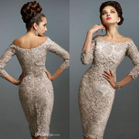 Wholesale plus size mother bride lace resale online - 2019 Mother Off Bride Dresses Scoop Full Lace Long Sleeves Knee Length Sheath Plus Size Mother Of The Bride Dress