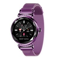Wholesale ladies smart watches for sale - Group buy Newest Fashion H2 Lady Smart Watch D Diamond Glass PPG Heart Rate Blood Pressure Lady Smart Bracelet