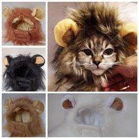 aslan yelesi kılık toptan satış-Pet Kedi Köpek Saç kap Peruk Emülasyon Aslan Saç Mane Kulaklar Baş şapka Sonbahar Kış Giydirme Kostüm Susturucu Eşarp Pet LJJA3312-3 Malzemeleri
