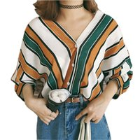 Wholesale white long sleeved blouse women for sale - 2019 Summer Fashion Women Loose Shirts Casual V Neck Stripes Print Bat Sleeves Blouses Sleeved Tops