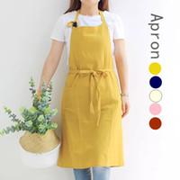 Wholesale korean cute kitchen resale online - Kitchen Temperament Simple Cotton Cute Pastoral Korean Fashion Tea Shop Florist Coffee Apron Florist Baking Extra Large Apron