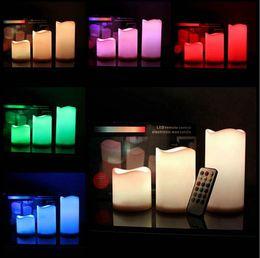 Canada LED sans flamme Télécommande 12 Changement de couleur Led Bougie Lumière Set Bougie Romantique Lampe De Mariage cadeau De Noël Décoration 3 taille Offre