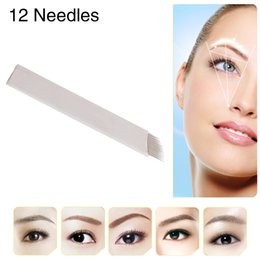 Wholesale Slope Tattoo Needles - CHUSE S12 Tattoo Blades Permanent Makeup Needles Eyebrow Maquiagem Microblading Manual Tool 12 Pins Sloped 50Pcs Box