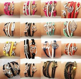 Wholesale Ship Anchor Silver Jewelry - Hot Sale Leather Bracelets Special Offer Fashion Infinity Owl Anchor Love Bracelet For Women Girl Jewelry Wholesale Free Shipping 0025DR