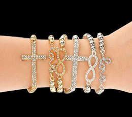 Wholesale Love Stretch Bracelet Wholesale - Hot Selling Fashion Women's Crystal Rhinestone Cross Love Infinity Stretch Beaded bracelets & bangles Gift Gold Silver Beaded bracelets