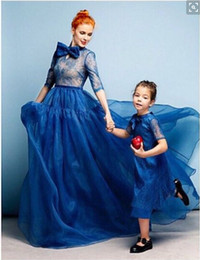 Wholesale kids dresses size 12 14 - Luxury Sky BLue Mother And Kids Formal Evening Dresses With Sleeves Sheer Lace Covered A line Bow Party Gowns Custom Made Women Gowns