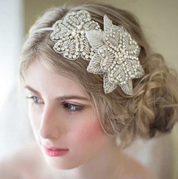 Wholesale White Lace Bridal Headband - Free Shipping Rhinestone Bride Headband,Wedding headband, Brides Headband, Bridal Hair Accessory, Rhinestone and Pearl headband