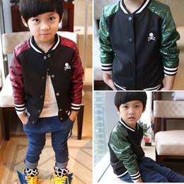 Wholesale Korean Children Boys Jacket - Fashion New arrived sequin Boys jacket skull Children Jacket Korean Children Outwear Spring Autumn kids Coat boys Clothing Kids Wear A1389