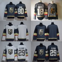 Wholesale Red Gray Hockey Jersey - 2017-18 New Style 29 Marc-Andre Fleury 80 Tyler Wong 18 James Neal Jersey Vegas Golden Knights Ice Hockey Jerseys Gray White