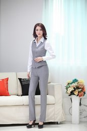 Wholesale Formal Styles Suits Blazers - Wholesale-Summer Formal Pant Suits Women Business Suits with Pant and Top Vest Waistcoat Sets OL Ladies Office Uniform Styles
