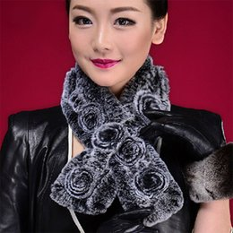 Wholesale Rex Gloves - Wholesale-Free Shipping 100% Natural Rex Rabbit Fur Knitted Scarf, Real Rabbit Fur Muffler