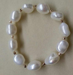 Wholesale Baroque Pearls Bracelets - Wholesale Hot Ms. 11-12mm white Baroque large particles profiled natural pearl bracelet 134