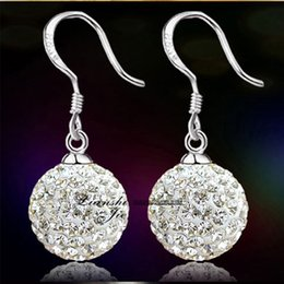 Wholesale Shamballa 925 - Top quality 925 sterling silver fashion jewelry Crystal Shamballa drop earrings for women free shipping birthday gift