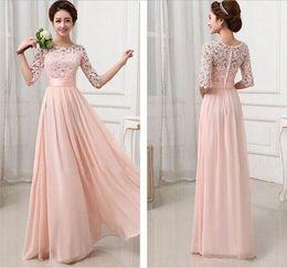 Wholesale Elegant Formal Brides Maids Dresses - Vestidos de Fiesta Pink White Chiffon Long Formal Prom Gowns Back Lace Evening Dress Elegant Bridesmaid Dresses Brides Maid Dress Sleeves
