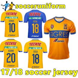 Wholesale H Shirts - TOP THAI QUALITY 17 18 Mexico club Tigres UANL soccer jersey Yellow home 5 Stars 2017 GIGNAC Vargas H. Ayala SOSA away blue football Shirt
