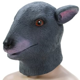 Wholesale High Quality Rabbit Costume - High Quality Latex Gray Rabbit Head Mask For Halloween Masquerade Parties Costume Ball Festive & Party Supplies