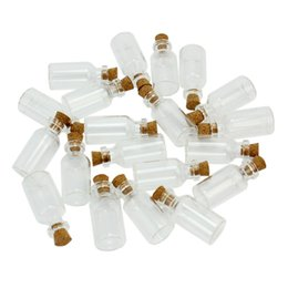 Wholesale Empty Message Bottles - Wholesale- 20pcs Mini Clear Transparent Empty Glass Bottles 5ml Vials Jars with Cork Small Tiny Corked Messages Wishing Bottle Container