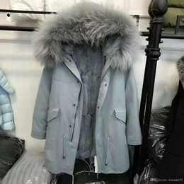 Wholesale Corduroy Coat Ladies - Mr & Mrs Italy Furs parkas 100% Real Raccoon Fur hood Lined with rabbit fur Ladies furs Jacket Green Fur warm down coat
