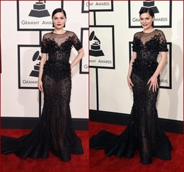 Wholesale Grammy Dress Knee Length - Gorgeous 57th Grammy Celebrity Dresses Sheer Jewel Neck Short Sleeves Black Flowers Beading Embellished Mermaid Red Carpet Gowns SSJ 2015