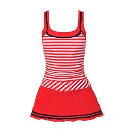 Wholesale One Piece Swimsuit Belt - 2016 New Women's striped dress swimsuit Fashion One Pieces swimwear Belt designed U neck Tracksuit Beachwear One-piece swimdress