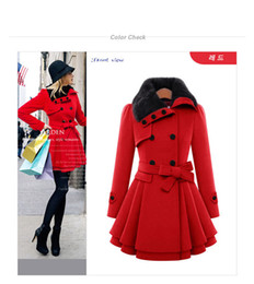 Wholesale Thicken Coat Warm Fur Lining - New Year Amazing Faux Fur Lining Women's Red Fur Coats Winter Warm Double Breasted Thicken Long Coat Drop Shipping