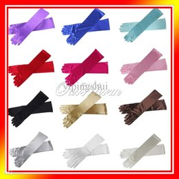 """Wholesale Prom Dress Long Arms - Wholesale-15"""" Women Arm Long Satin Finger Elbow Gloves Evening Party Bridal Wedding Opera Dress Prom"""