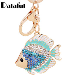 Wholesale Fairy Shapes - beijia High Quality Fish Shape Key Chains Rings Holder Crystal Goldfish Bag Pendant For Car Rhinestone Keyrings KeyChains K267