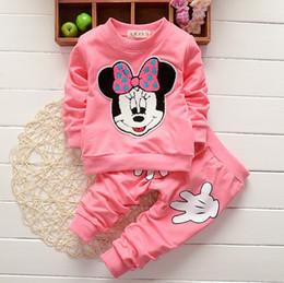 Wholesale Minnie Children Suit - Autumn spring kids suit girl shirt+pant set 2 pieces children long sleeve minnie clothes suit 6 colors for choose