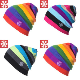 Wholesale Wholesale Striped Beanies - Wholesale-B-3 2015 New winter Men and Women Beanies (SNSUSK) striped rainbow colors Cotton Knitted Hats Brand ski Braid Hat Skullies