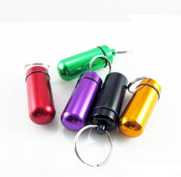 Wholesale Medicine Cases Travel - Free Shipping Travel Keychain Pill Box WaterProof Aluminum Case Bottle Holder Container Medicine Storage Organizer Container Case