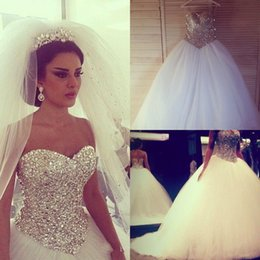 UK wedding dress sweetheart beading real - 2016 Ball Gown Wedding Dresses With Crystals Sweetheart Corset Tulle Court Train Puffy Bride Bridal Gowns Real Picture robe de mariage New