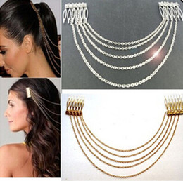 Wholesale Head Clip Gold - WOMEN'S WEDDING HAIR ACCESSORIES VINTAGE GOLD SILVER CHAINS FRINGE TASSEL HAIR COMB CUFF WOMEN HEAD CLIPS HAIRBAND