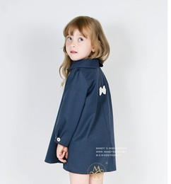 Wholesale Girls Lovely Coats - Baby girl fashion dress autumn new style beautiful trench coat Lovely bowknot 2015 baby clothes factory direct sale in stock 1pcs A20