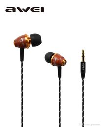 Wholesale Original Blackberry Q5 - Original AWEI Stereo Wood Noise Isolation Earphones Earbuds For mp3 mp4 Player cell Phone ES Q5