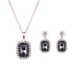 Wholesale New Diamond Jewellery - 2016 New Summer Jewellery Set Black Square created Diamond Women Austrian Crystal Necklaces & Pendants Earrings Jewelry Sets