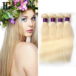 Wholesale 613 indian virgin hair - 613 Blonde Virgin Hair 4Pcs Lot Brazilian Virgin Straight Human Hair Weave Cheap Blonde Brazilian Hair Weave Bundles HC Products