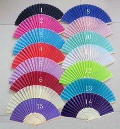Wholesale Personalized Wedding Fans - 2015 Brand New 200Piece Lot Folding Wedding Silk Fan Personalized Wedding Favors For Guests 18 color fedex or DHL free shiping