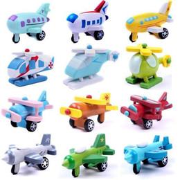 Бесплатная доставка 12 шт./лот деревянный мини-модель комплект самолет Самолет Вертолеты авиалайнер истребители детские подарки от