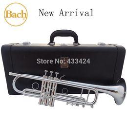 Deutschland Taiwan Bach Original 5 mal versilbert LT190S98 Bb Professional Trompete HARTE LEDER Gehäuse Top Musikinstrument Messinghorn Versorgung