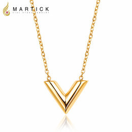 Wholesale Gold Chain Top - Martick 316L Stainless Steel Gold-color V Letter Shap Pendant Necklace Link Chain Necklace Fashion Jewelry Top Quality For Girl